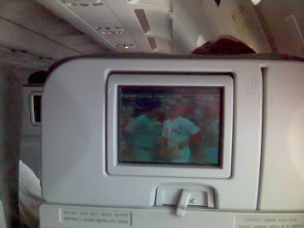 Watching the Sox on the plane - Seattle (May 2008)