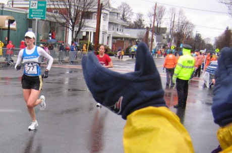 Gloved hands cheer cold runs at Natick Center