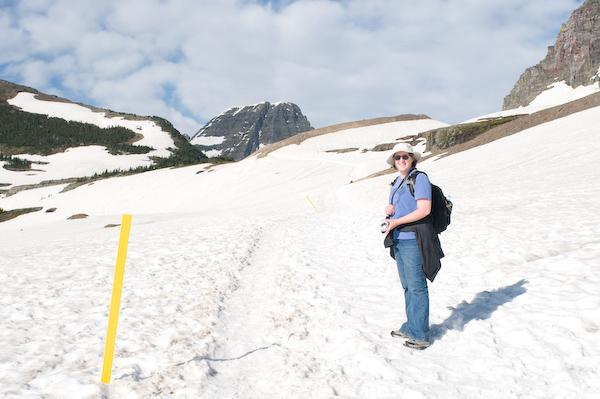 On our fifth hike, the snowfield (Glacier NP, Montana)